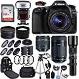 Canon EOS 80D DSLR Camera + Canon EF-S 18-55mm + Canon EF-S 55-250mm Lens & Telephoto 500mm f/8.0 + 0.43 Wide Angle Lens + 2.2 Telephoto Lens + Macro Filter Kit + 64GB Memory Card + Accessory Bundle For Sale
