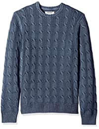 Men's Soft Cotton Cable Stitch Crewneck Sweater
