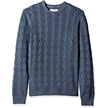 Goodthreads Men's Soft Cotton Cable Stitch Crewneck Sweater