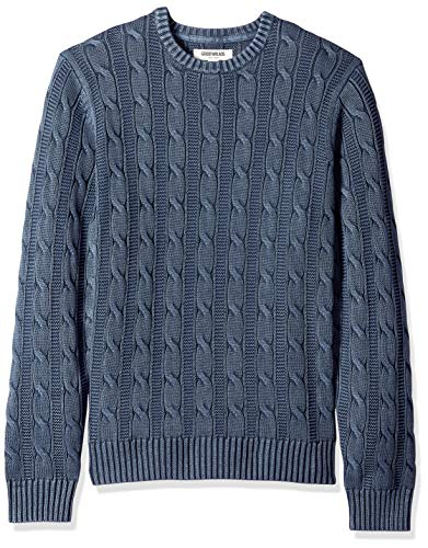 Goodthreads Men's Soft Cotton Cable Stitch Crewneck Sweater, Washed Navy, Large