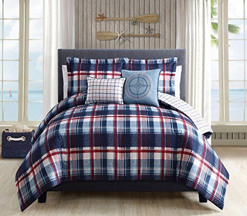 5 Piece Breezy Plaid Navy/Red Reversible Comforter Set Cal K