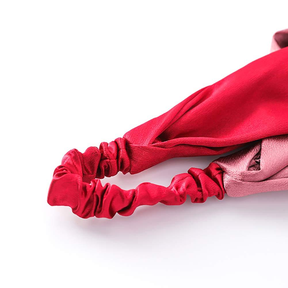 5.2cm abricot Gysad c/ôt/é Large Bandeaux soyeux Bicolore Croix Noeud /élastique Bandeau Cheveux Head Wrap pour femme ado Filles Accessoires Cheveux 13