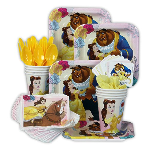 Beauty and the Beast Party Pack Seats 8 - Napkins, Plates, Cups, Cutlery & Stickers -Beauty & the Beast Party Supplies, Standard Party Pack