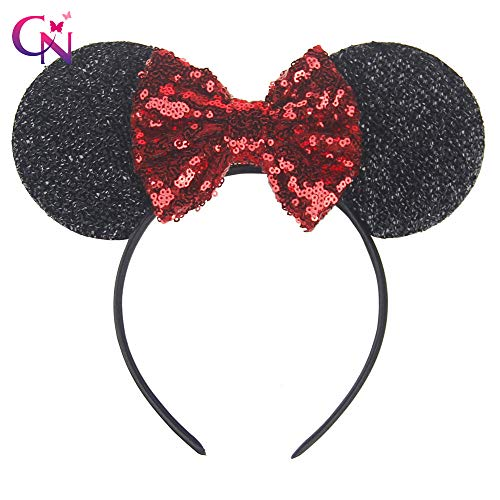VANVENE Mickey Mouse Ears Handband Costume Girls Women, Minnie Sequin Mouse Ears, Sparkly Mouse Ears Hairs Accessories, Electrical Parade Ears, Kids Party Decorations Glitter Ears with Dots Bow(Red)