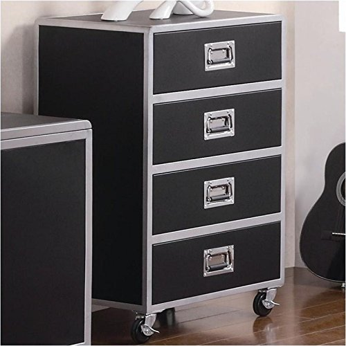 Coaster Home Furnishings Contemporary Chest, Black and (Black Metal Chest)