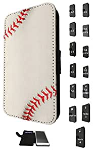635 - Baseball Pattern Look Design Fashion Trend Credit Card Holder Purse Wallet Book Style Tpu Leather Flip Pouch Case Samsung Galaxy S6 i9700