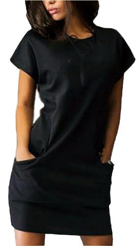 UGET Women's Summer Dresses Short Sleeve Casual Shirt Mini Dress with Pockets