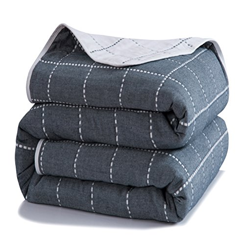 (Uozzi Bedding 6 Layers of 100% Hypoallergenic Muslin Cotton Premium Toddler Blanket Spring Summer Quilt/Throw Blanket for Teens, Adults (Navy Dotted line Plaid Style, 56