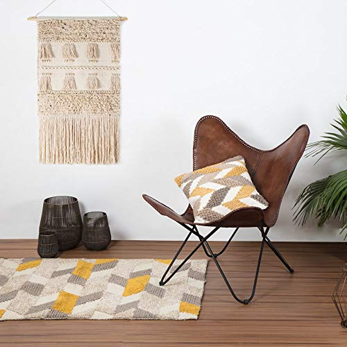 Vintage Brown Leather & Arm Butterfly Chair | Genuine Tan Leather Butterful Chair Home Decor | Handmade Chair Presented by Indian Hando Art (Leather Butterfly Chair Sling)