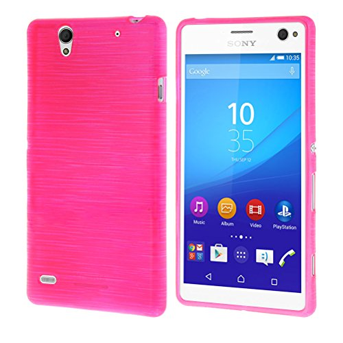 MOONCASE Durable Flexible Soft Silicone Gel TPU Skin Shell Back Case Cover for Sony Xperia C4 Hot pink