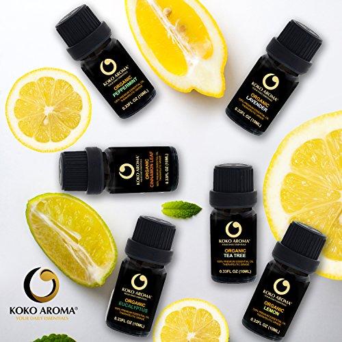 Top 6 Best Organic Essential Oil, Aromatherapy Oils, Organic Lavender,Organic Eucalyptus,Organic Peppermint Japanese, Organic Lemon, Organic Tea Tree, Org Cinnamon Leaf KOKO AROMA(Organic Gift Set)