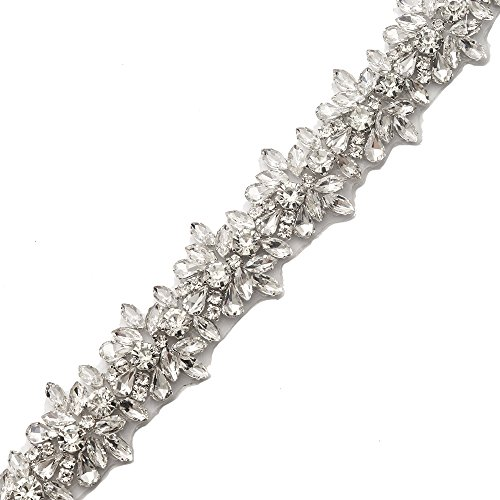 - Yanstar Handmade Silver Crystal Rhinestone Applique Trim by The Yard with Iron-On Back for DIY Bridal Wedding Belt Sash Bridesmaid Dress
