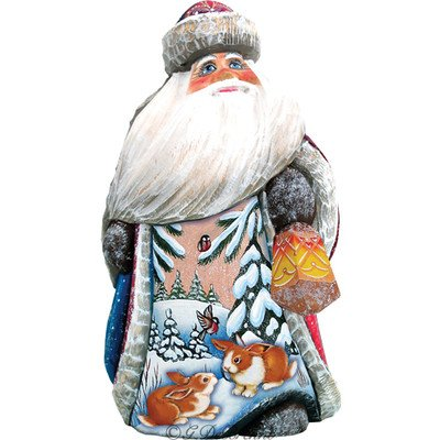 G. Debrekht Bunny Friends Santa Hand-Painted Wood Carving Figurine