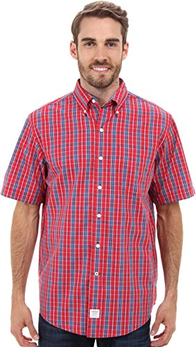 IZOD Men's Short Sleeve Saltwater Medium Plaid Woven Real Red Button-up Shirt LG