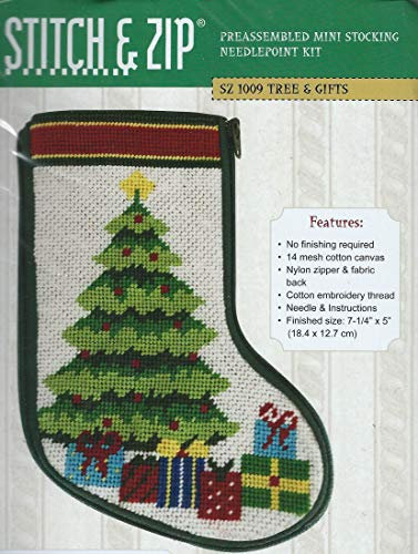Stitch & Zip Christmas Tree & Presents Mini Stocking Needlepoint Kit