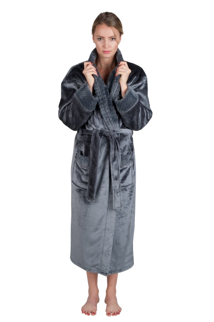 Love This Robe Women's 48'' Spa Style Full Length Robe with Velvet Collar & Cuffs (2X Large, Shades of Gray)