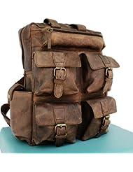 AOL Vintage Genuine Buffalo Leather 18 Backpack Rucksack Travel Bag College Bag SALE