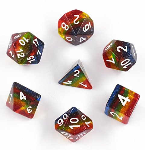 Rainbow Glitter Dice, Polyhedral Dice Set Transparent Galaxy Dice for DND Dungeons and Dragons Pathfinde MTG RGP Roleplaying Game