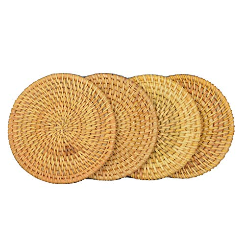 - Rattan Handmade Drink Coaster Set Coffee Tea Cupmat Teapot Vine Placemat Rattan Decorative Holder for Drinks Kitchen Table Coffee Shop (4Packs, 5.2