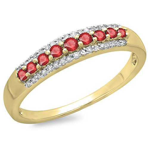 Dazzlingrock Collection 10K Round Ruby & White Diamond Ladies Wedding Band Stackable Ring, Yellow Gold, Size 7