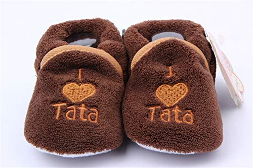 Super Cute Baby Girls Shoes Kids Children Winter Warm Plush Booties Infant Soft Slipper I Love TATA Mama Crib First Walkers (Coffee)