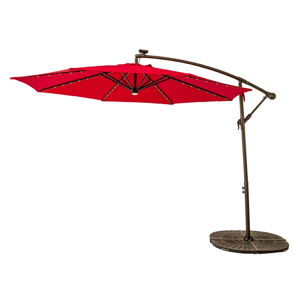 FLAME&SHADE 10 feet Solar Power LED Lights Outdoor Offset Cantilever Umbrella, LED Lights Hanging Patio Parasol Crank Lift, Large Round, Red