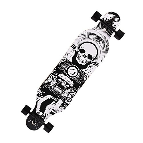 41'' Professional Speed Wooden Print Skateboard Drop Down Complete Longboard (Skull - Surf Different Of Boards Types