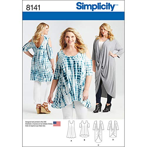 Simplicity Creative Patterns 8141 Plus Size Knit Tunics and Mini Dress, GG (26W-28W-30W-32W)