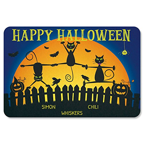 Lillian Vernon Cat Personalized Halloween Doormat - 3 Name, Custom 18