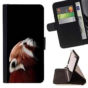 BullDog Case - FOR/Apple Iphone 4 / 4S / - / little red panda bear cute face portrait animal /- Monedero de cuero de la PU Llevar cubierta de la caja con el ID Credit Card Slots Flip funda de cuer
