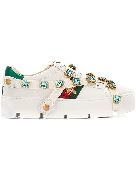 Gucci Mujer 5500540RDW09065 Blanco Cuero Zapatillas: Amazon.es: Zapatos y complementos