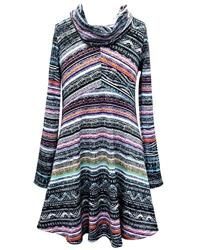 Truly Me, Big Girls Tween Drop Waist Watercolor Fuzzy Knit Dress , 4-6X , 7-16 (10, Purple Multi) -