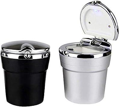 Noir-2 Cendrier de voiture LED Cendrier Portable Auto Bureau Noir