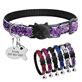Didog Bling Bling Safety Buckle Breakaway Kitten Collar with Engraved Fish Shaped ID Tag for Christmas Festival,Purple
