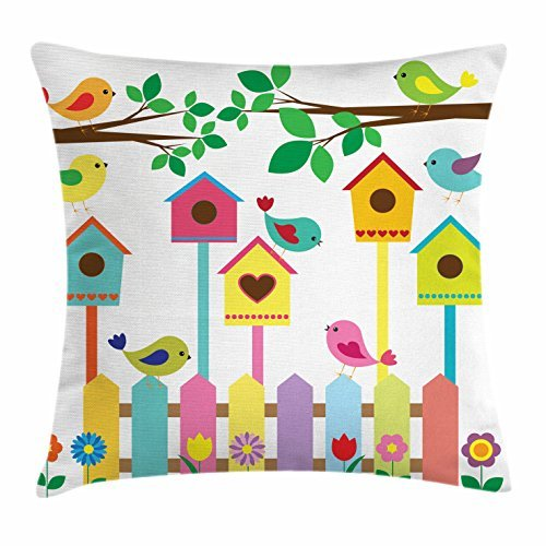 Birds Throw Pillow Cushion Cover, Colorful Avian Animals Birdhouses and Fence Design Childrens Cartoon Style Sketch, Decorative Square Accent Pillow Case, 18 X 18 Inches, Multicolor ()