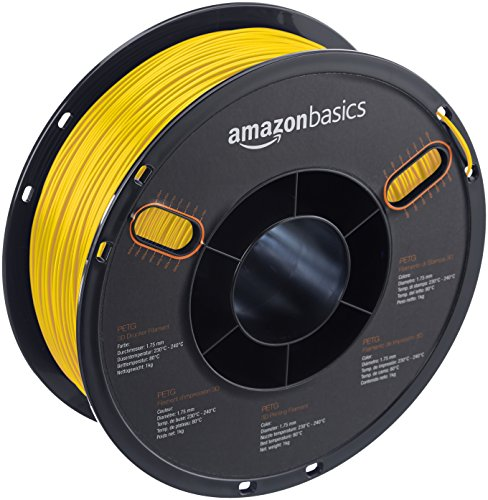 AmazonBasics PETG 3D Printer Filament, 1.75mm, Yellow, 1 kg Spool by AmazonBasics