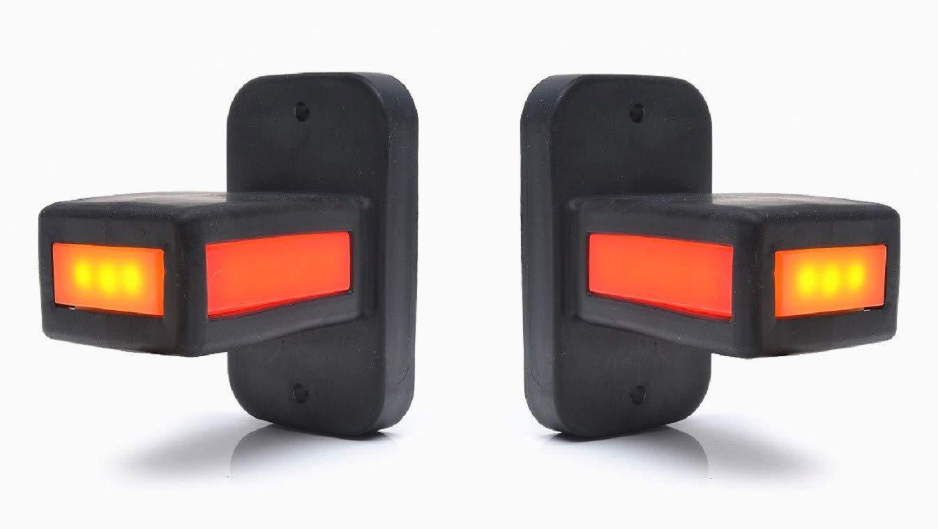 2x short stalk LED neon position clearance marker lights 12//24V ECE side rear front lamps truck trailer chassis van bus