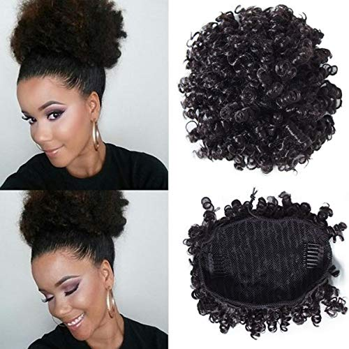 Longqibeauty Afro Puff Drawstring Bun Human Hair Ponytail Virgin Kinky Curly Wrap Short Ponytail Clip in Hairpieces for African American Women Natural Color 8 Inch