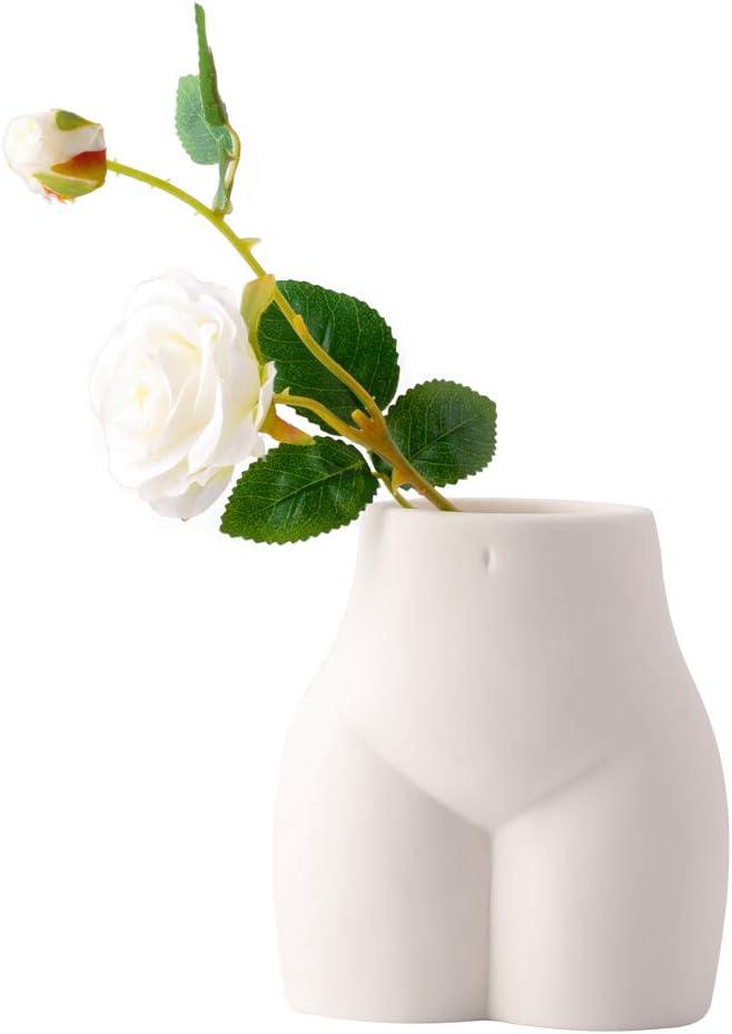 Pure White Ceramic Flower Vase, Creative Body Vase, Simple Flower Planter, Home Decor Nordic Vase for Sitting Room Bed Room Porch Hotel Decoration (Short Bottom)