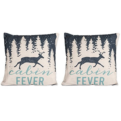 Cabin Fever Deer Buck in Forrest 16 x 16 inch Linen Accent Throw Pillow Set of 2