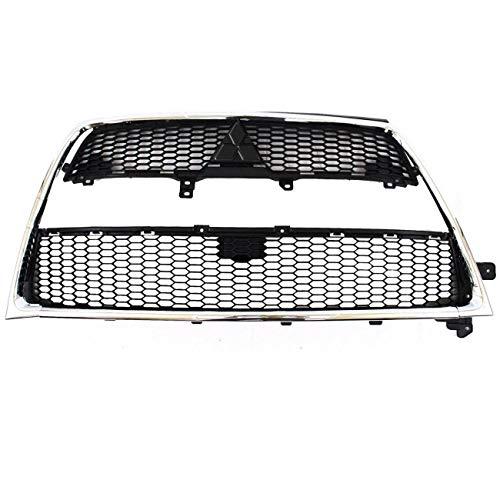 AUTOPA 6402A198 Front Upper + Lower Bumper Grille Kit + Trim Molding for Mitsubishi Outlander 10-13 2.4L
