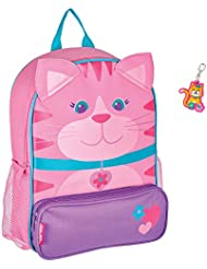 Stephen Joseph Sidekick Girl Cat Backpack with Zipper Pull - Cute Kids Book Bags