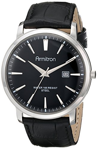 (Armitron Men's 20/5012BKSVBK Date Function Black-Dial Croco-Texture Leather Strap)