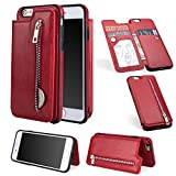 Wallet Case for iPhone 6S,iPhone 6 Case,Red PU Leather Stand Case,Ostop Credit Card Holder Zipper Purse Slim Fit Magnetic Clasp Flip Folio Cover with Cash Pocket Soft TPU Bumper Shell