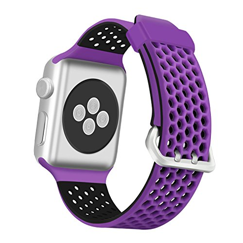 ESeekGo Compatible with Apple Watch Band 42mm 44mm 38mm 40mm, Sport Breathable Silicone Replacement Smart Fitness Watch Wristband Compatible with Apple Watch Series 4 3 2 1 Edition for Men Women