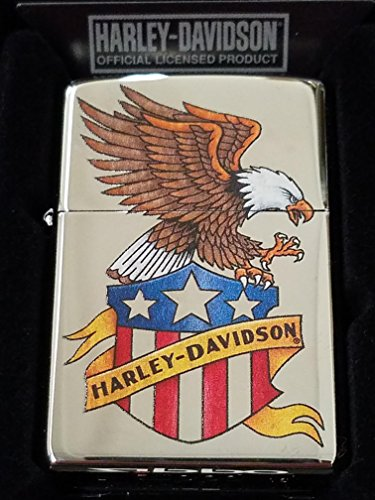 Zippo Lighter Harley-Davidson Mens Eagle with Shield High Polish Chrome 29505 (Eagle High Polish)