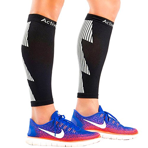 ActiveGear Calf Compression Sleeves for Men and Women to Improve Circulation and Recovery - Black/Gray S/M (One Pair)