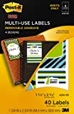 Post-it Multi-Use Designer Series Labels, 4 Designs, Write Only, 1 3/4 x 2 3/4 Inches, 10 Sheets per Pack (6250-RD)