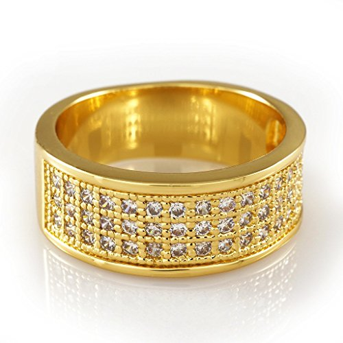 18K Gold Plated Iced Out Engagement CZ Ring,Size 7