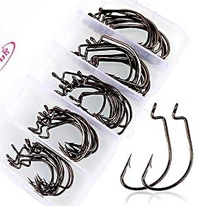 Sougayilang Fishing Hooks High Carbon Steel Worm Senko Bait Jig Fish Hooks with Plastic Box (50Pcs Jig Hooks with Box)